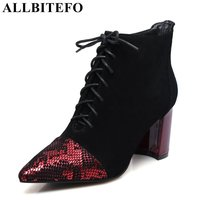 ALLBITEFO Large Size 34 43 Nubuck Leather Mixed Colors Women Boots Sexy High Heels Winter Boots