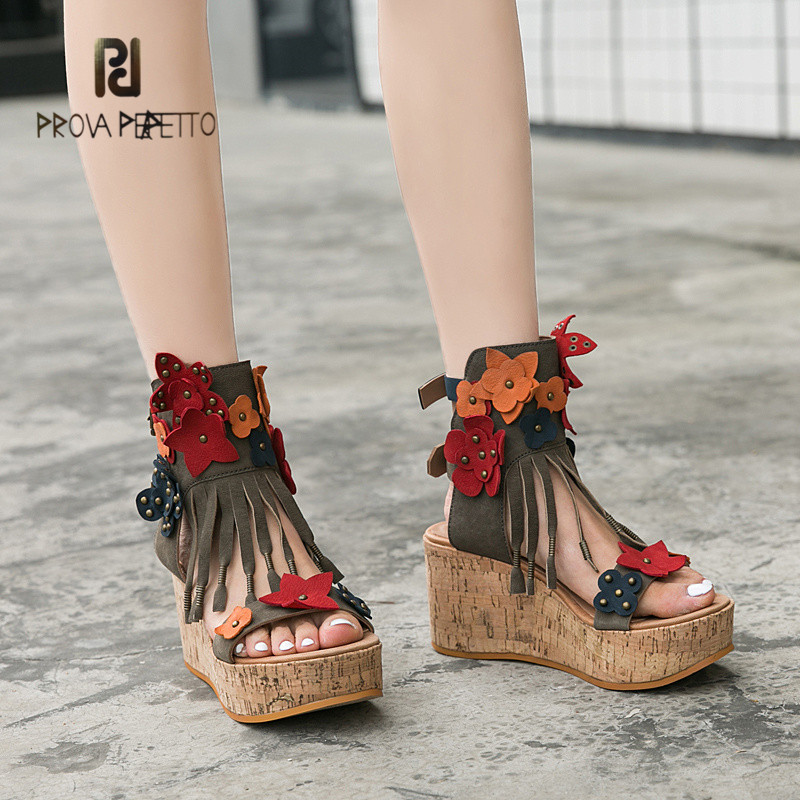 Prova Perfetto High Quality New Trends Flowers Fringe Tassels Wedge Sandals High Heels Hand-made Real Leather Thick Bottom ShoesProva Perfetto High Quality New Trends Flowers Fringe Tassels Wedge Sandals High Heels Hand-made Real Leather Thick Bottom Shoes