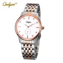 Onlyou Marca de Lujo de Relojes Mujeres de Los Hombres de Negocios Reloj de Cuarzo Reloj de Oro Rosa Mujer Hombre Con Fecha 6908