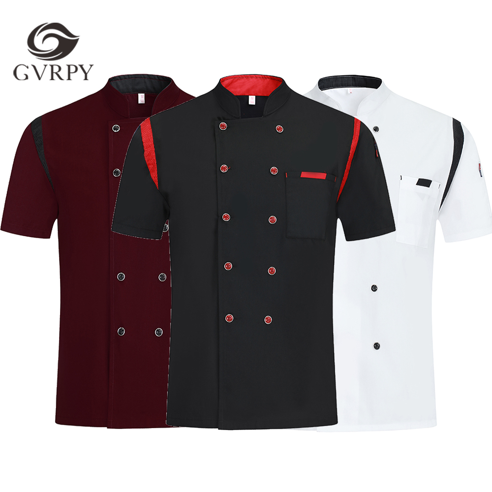 Summer Breathable Short Sleeve Chef Uniform Hotel Restaurant Kitchen Cooking Shirt Baking Cuisine Barber Work Jacket Unisex