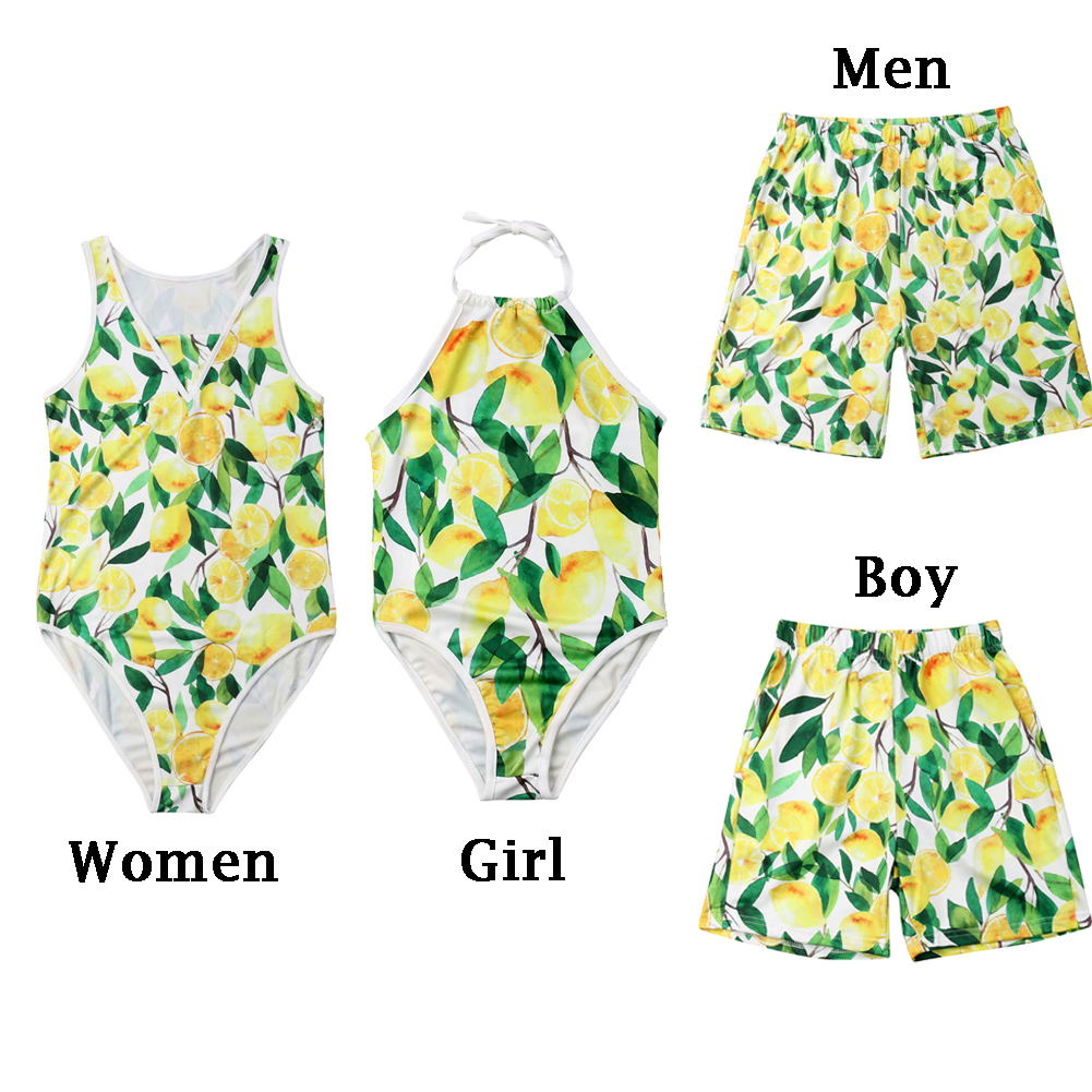 lemon print pattern twinning family swimwear