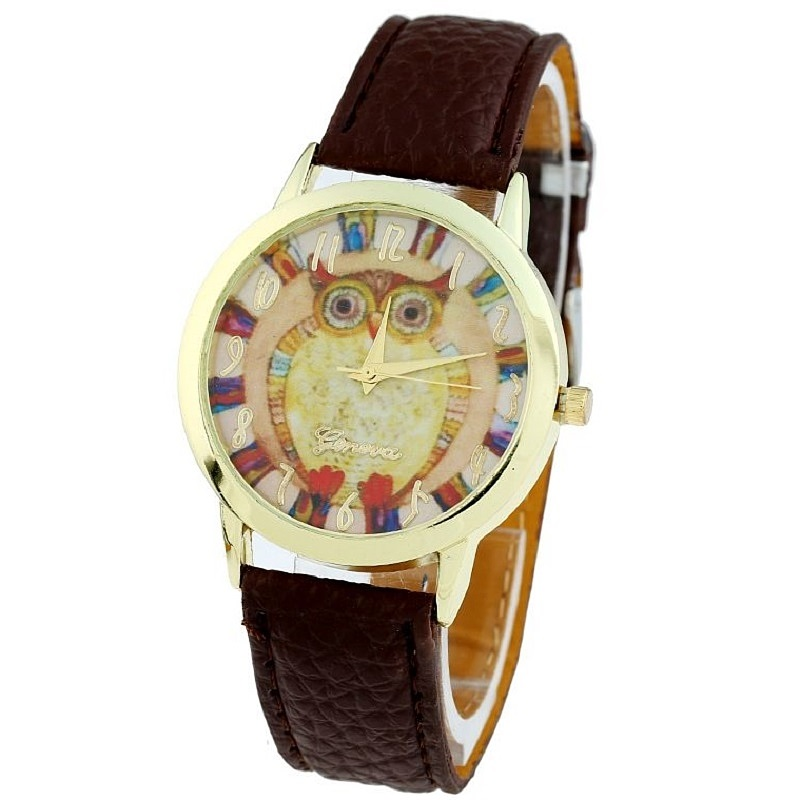 Gnova Platinum Women Watch Vintage Owl Ethnic Fashion Analog Quartz Wristwatch PU Leather Relogio Feminino Retro A456