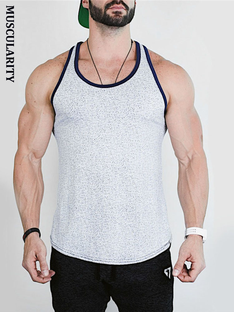 Nice Summer Men Bodybuilding Compression Running Vest Top Gym Fitness Clothing Male Fashion Casual Printed Sling Vest T-shirt Running Vests