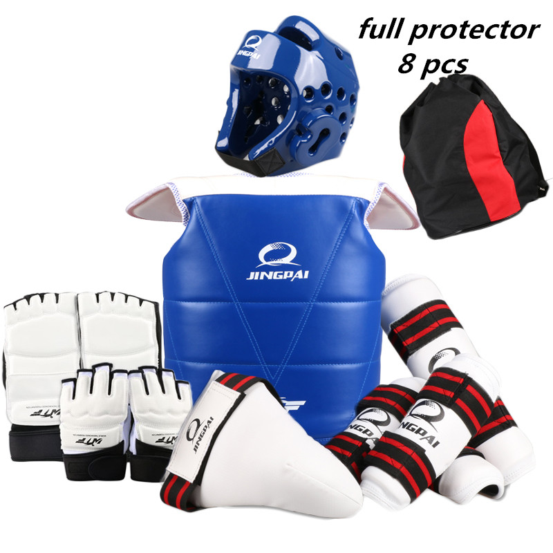 8 pieces one set taekwondo protectors full set child adult Helmet Chest head protector Armguards Shank protector Crotch taekwondo protective gear set wtf hand chest protector foot shin arm groin guard helmet 8pcs children adult taekwondo karate set