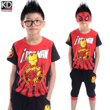 2016 New Children Summer Clothing Sports Outfit for Boy Kids Sports Suit Cotton Short sleeve T shirt middle pants Iron Man Set