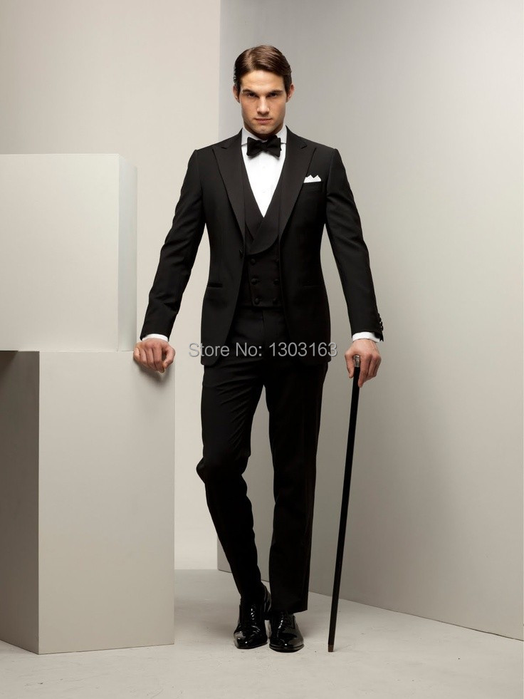 2016 New arrival italian men suits custom made wedding suit Black ...