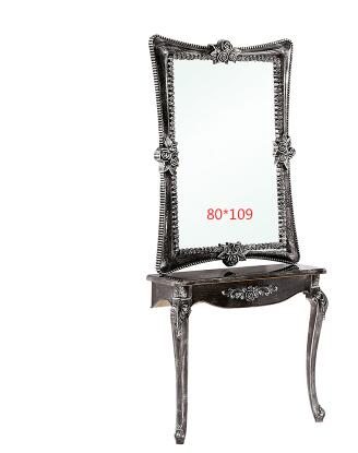 Factory Direct-selling Salons Shop Mirror Glass Steel Relief Salon Hair Dressing Table Retro European-style Mirror.