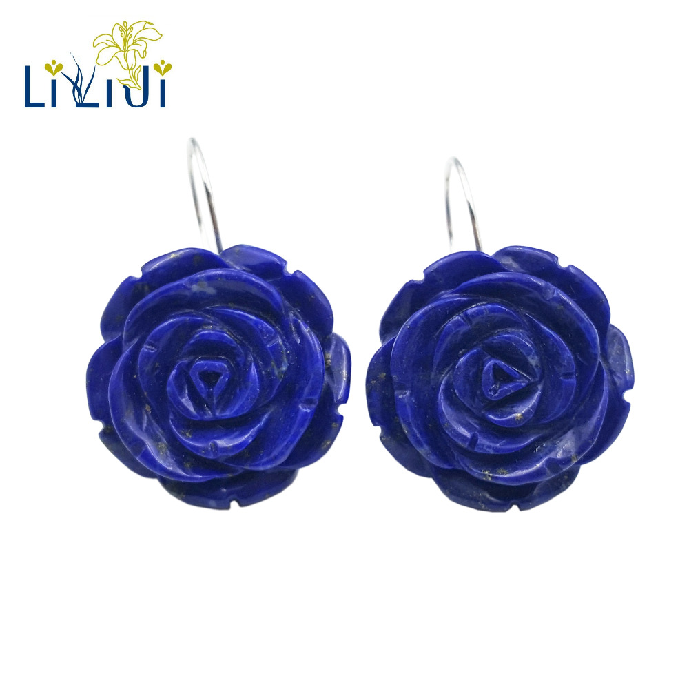 Lii Ji Gemstone Natural Lapis Lazuli Rose Flowers 925 Sterling Silver Earring yh 925 sterling silver with natural lapis lazuli suits