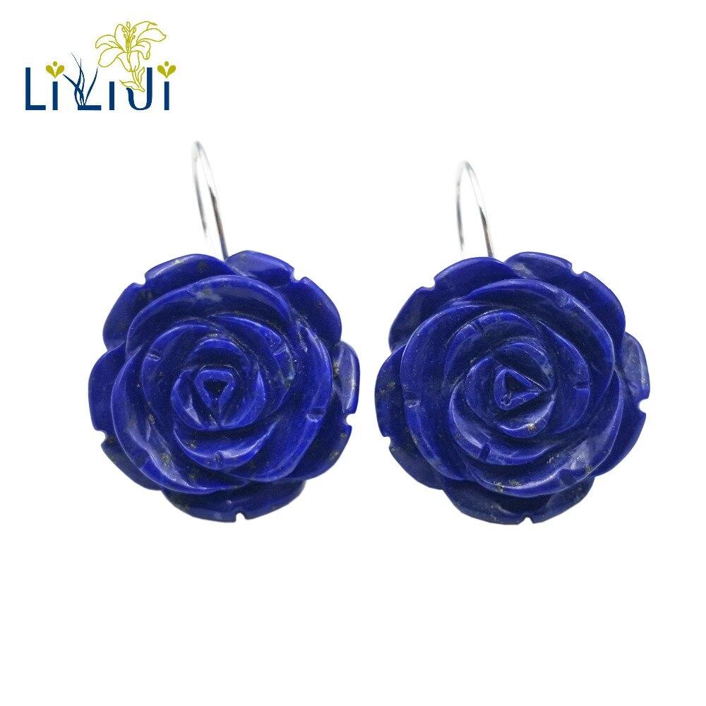 Lii Ji pierres précieuses naturelles Lapis Lazuli Rose fleurs 925 boucles d'oreilles en argent Sterling pour les femmes cadeau