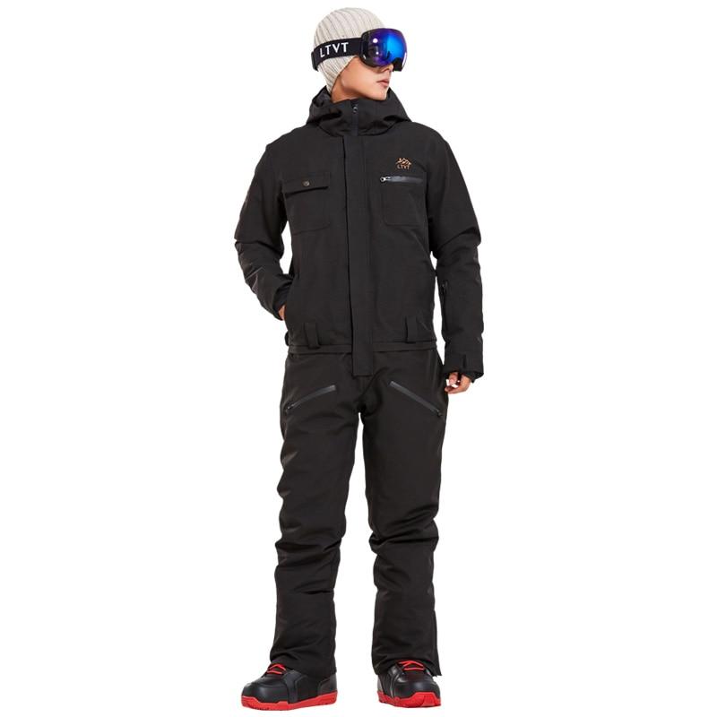 2020 New Winter Ski Suit Men One Piece Snow Jumpsuit Mountain Skiing Waterproof Thick Warm Snowboard Jackets Snowboarding Pants
