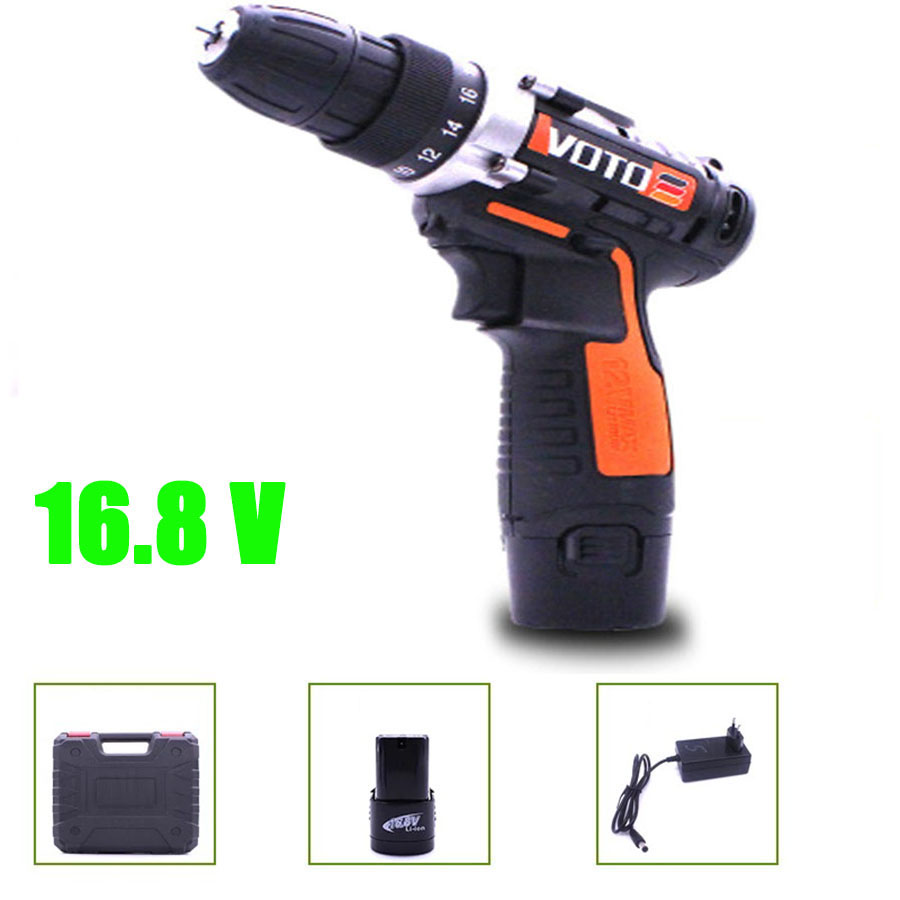 VOTO Battery Rechargeable Cordless Drill Electric Screwdriver Set Lithium Power Tools Screw Gun Driver 16.8V With Case Orange VT цены онлайн