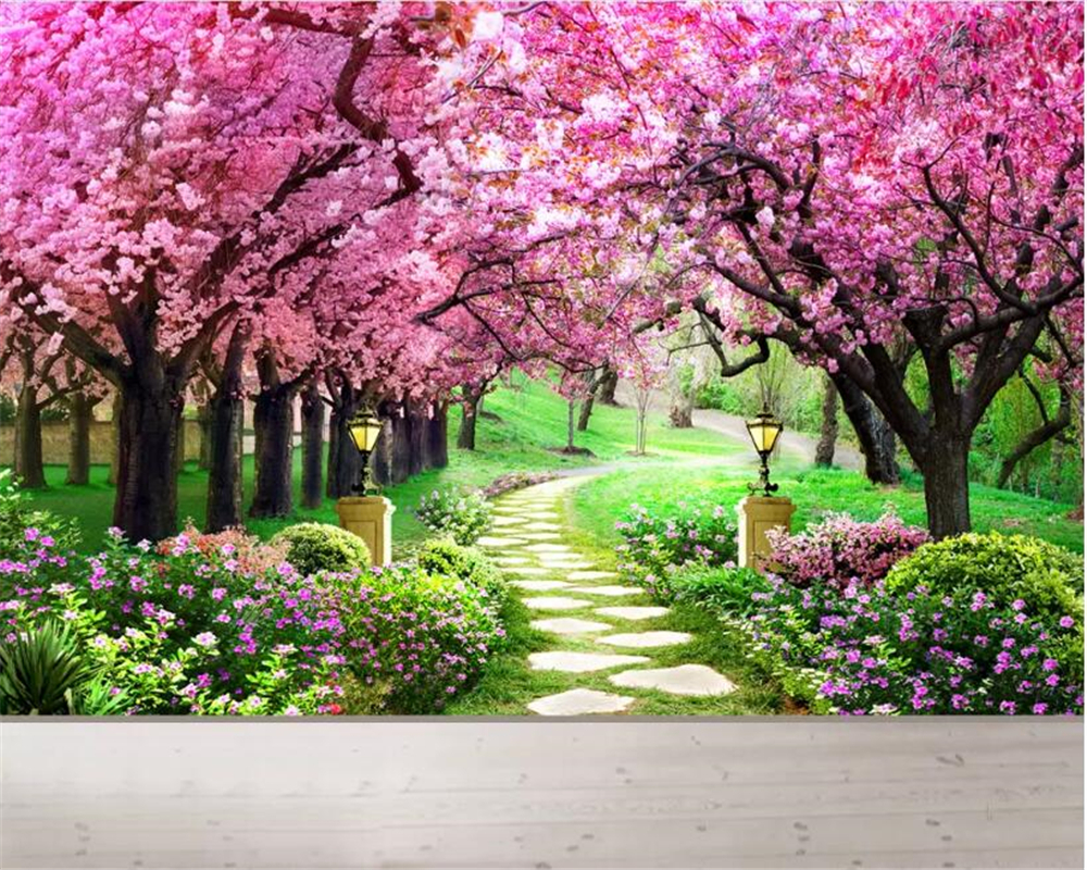 Wallpapers Cherry Blossom Us 9 45 37 Off Beibehang Custom 3 Photo Wallpaper Cherry Blossom Forest Garden Path Natural Scenery Wall Papers Home Decor Papel De Parede In
