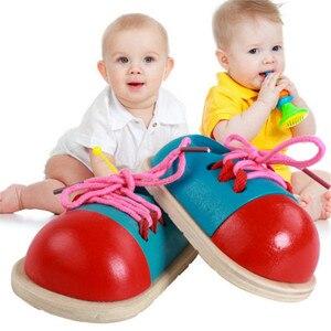 Image 2 - מונטסורי למידה צעצועים חינוכיים לילדים צעצועי עץ לשרוך נעלי Creative משחקי פאזל עץ חידות פופולרי צעצוע