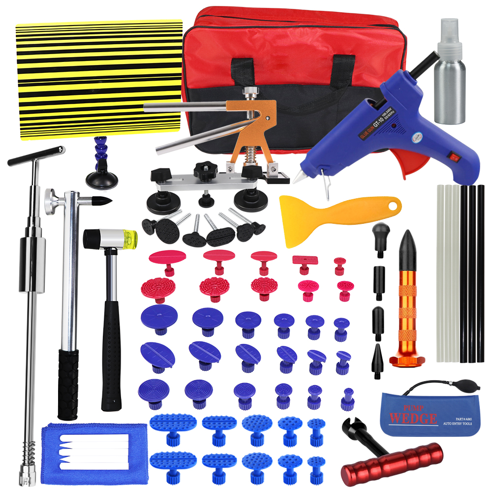 цена на PDR Tools Set Paintless Dent Repair Car Dent Removal Hand Tool Set PDR Reflector Board dent puller Slide Hammer glue gun tools