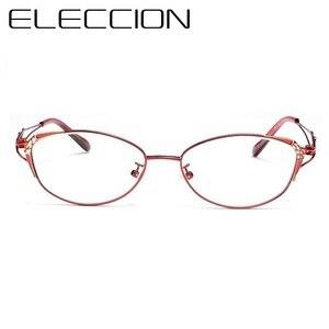 Image 2 - Оправа кошачий глаз женские очки по рецепту модная металлическая оправа для близорукости оптическая с диоптрией линзы прогрессивный Анит синий луч