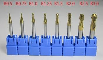 8PCS radius 0.5 0.75 1.0 1.25 1.5 2.0 2.5 3.0 mm R0.5 -R3 HRC58 Carbide Ball Nose End Mills CNC machine milling cutter finishing