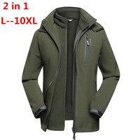 10XL 8XL 6XL для мужчин зима 3 в 1 внутренний флис комплект из 2 предметов уличные куртки теплые непромокаемые ветрозащитный Спорт на открытом воз