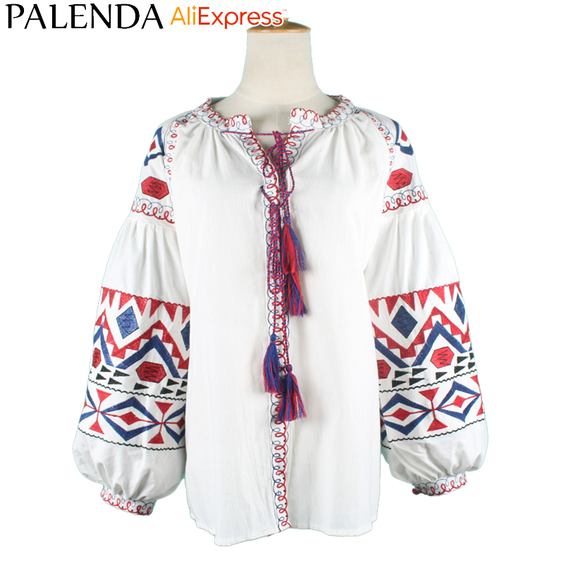 2016 new arrive autumn shirt top blouses women leisure bohemian embroidery vyshyvanka lantern sleeve wide fit