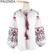 Palenda 2016 new arrive autumn shirt top blouses women leisure bohemian embroidery vyshyvanka lantern sleeve wide fit loose size