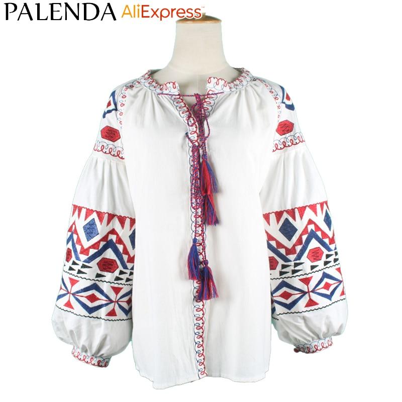 Palenda 2016 new arrive autumn shirt top blouses women leisure bohemian embroidery vyshyvanka lantern sleeve wide