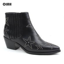 Rivet Leather Ladies Ankle Boots Woman Autumn High Heels Short Boots Zip Pointed Toe Western Boots Motorcycle Chunky Wedges Boot wetkiss genuine leather boots women round toe boot short plush chunky heels warm female shoes zip motorcycle casual footwear