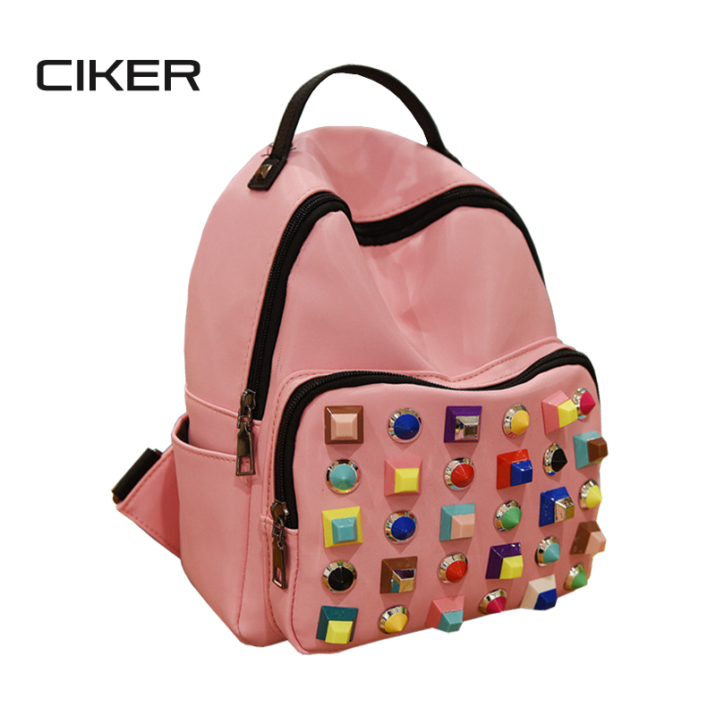CIKER New 2017 fashion colorful rivet women backpack casual  backpacks for teenage girls leisure travel bag mochilas new arrival set of four rivet with embossing backpack female rivet woolly bear pendant with fashion backpacks b 40