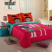 MEILUO Four-Piece Suit The Wedding Red Love Happiness Bedding Close Skin Cotton Activated Cartoon