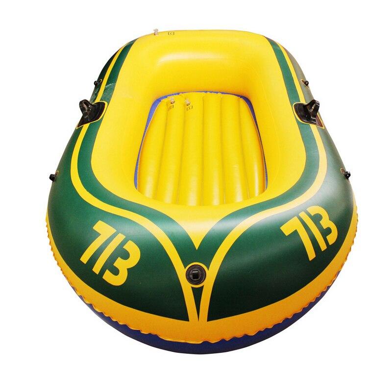 Durable 1-2 personne bateau gonflable PVC bateau à rames ensemble 175x115 cm avec pompe à palettes Kit de patchage et corde Double bateau de pêche