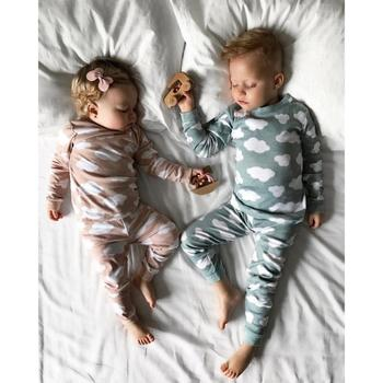 Baby Girl Boy Clothes Cloud T-shirt Tops+Pants Family Pajamas Clothes Newborn Winter Long Sleeve Set Baby Warm Clothes 18Aug12 одежда на маленьких мальчиков