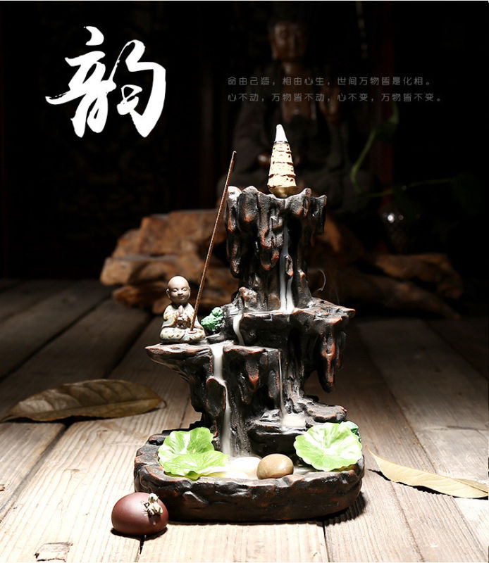 Buddhist monk Mountains water Ceramic Backflow Cone burner incense holder