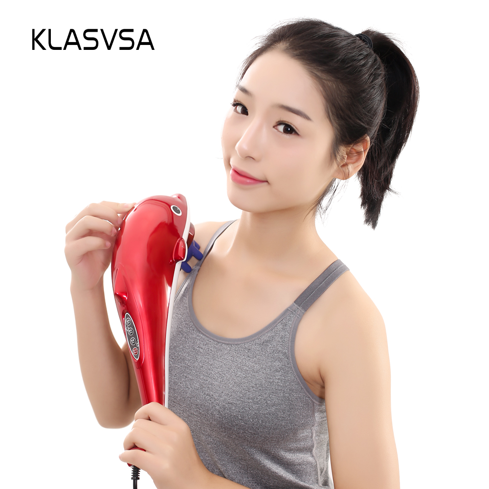 KLASVSA Electric Shiatsu Neck Back Dolphin Massager Hammer Acupressure Vibrator Shoulder Waist Massage Stick Pain Relief huion kamvas gt 191 pen display monitor 8192 levels ips lcd monitor digital graphic drawing monitor with gifts
