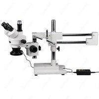 Trinocular 스테레오 현미경-amscope 용품 가변 144 led 링 라이트가있는 7x-45x trinocular 스테레오 현미경