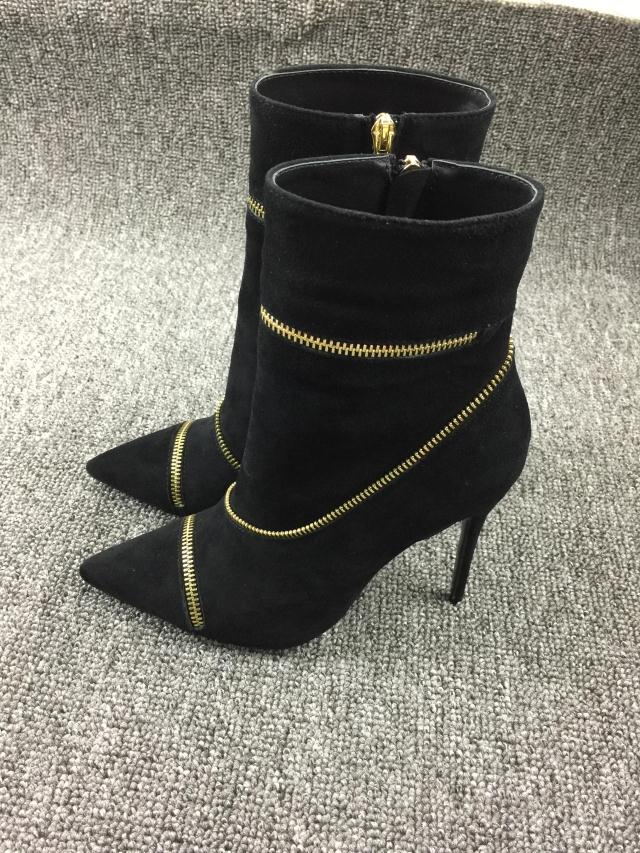 High Quality Spring Autumn Black Dress Shoes Women Pointed Toe High Heel Booties Mujer Vintage Zipper Embellished Ankle Boots new spring autumn women shoes pointed toe high quality brand fashion ol dress womens flats ladies shoes black blue pink gray