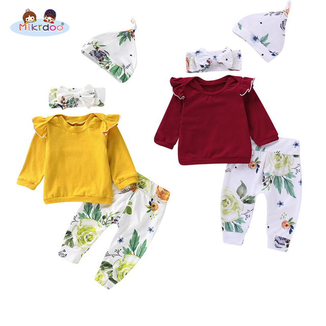 Toddler Newborn Baby Girls New Arrival Clothes Set Long Sleeve Ruffle Top Floral Print Pant Hat Headband 4PCS Autumn Outfit