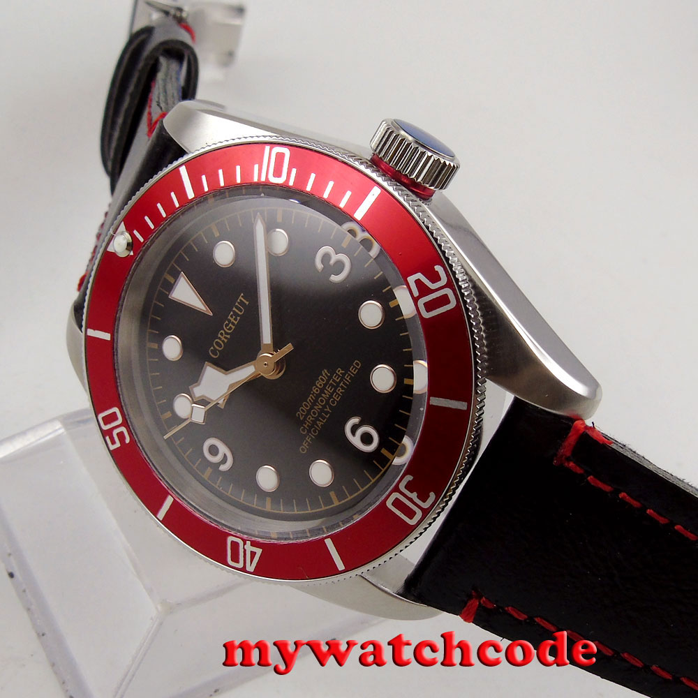 лучшая цена 41mm corgeut black dial red bezel Sapphire Glass miyota Automatic mens watch C91