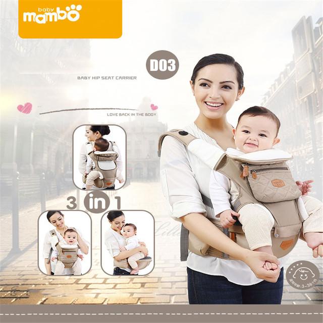 Mambobaby ergonômico 3 em 1 portador de bebê respirável mochila estilingue algodão para 3-36months crianças horizontal frente carry bebê hipseat