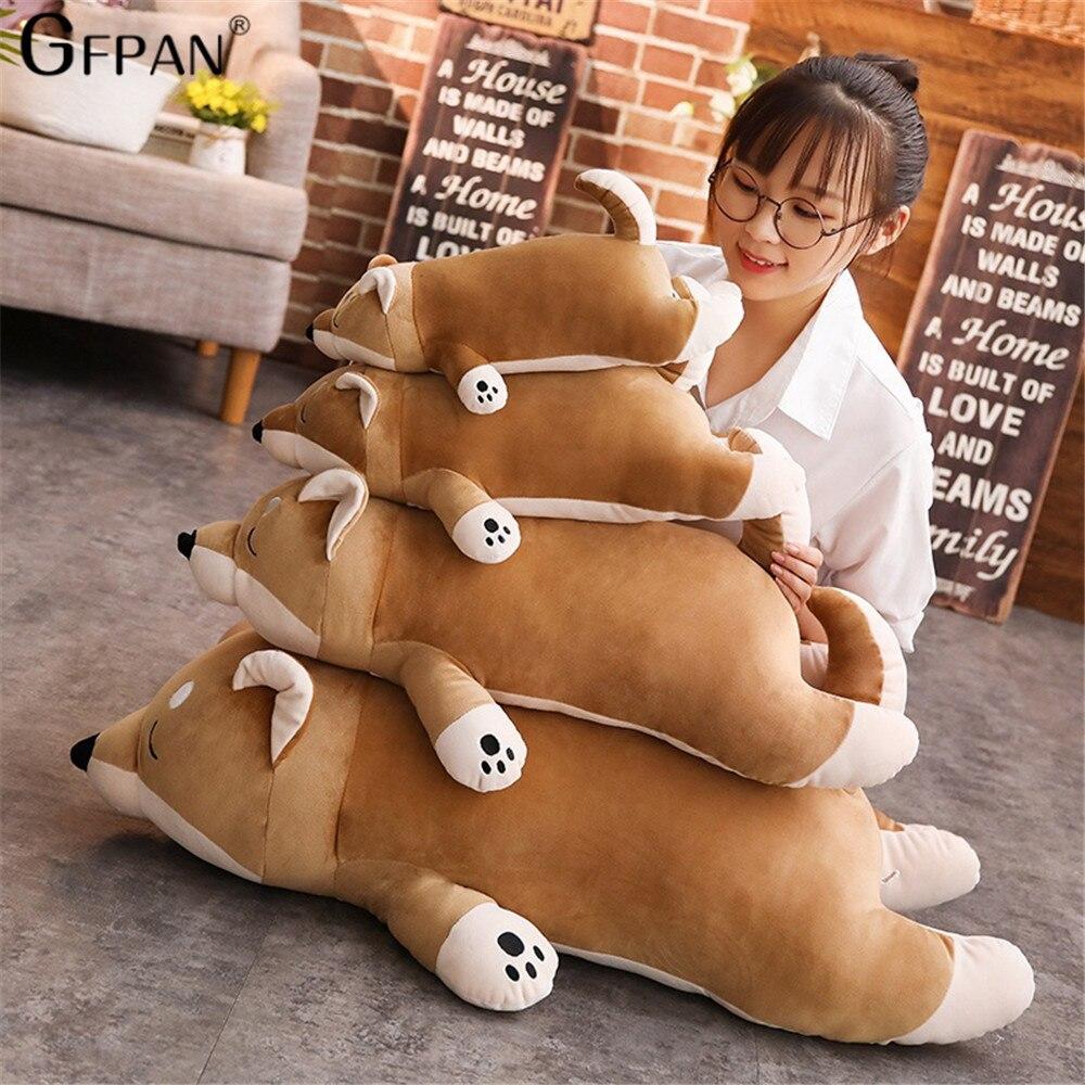 40/100CM Cartoon Lying Plush Stuffed Dog Corgi Plush Pillow Big Toys Shiba Inu Dog Doll Lovely Animal Children Birthday Gift