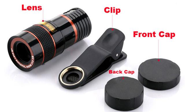 Universal clip de la lente de zoom 8x lente del telescopio del teléfono móvil ajustable para xiaomi redmi 3x, asus zenfone max zc550kl (2016) 6A076IN