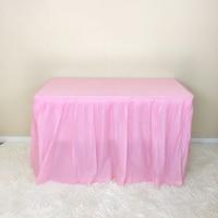 Zamglone jednorazowe spódnice na stół do dekoracji ślubnych DIY urodziny tiul Home Decor Handmade materiał graficzny w Spódnice stołowe od Dom i ogród na