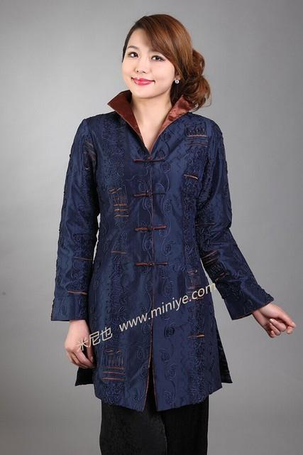 Nova marinha das mulheres azuis de cetim botão jaqueta casaco flor applique longo miiddle-idade mãe clássico clothing tamanho s para 4xl nj35