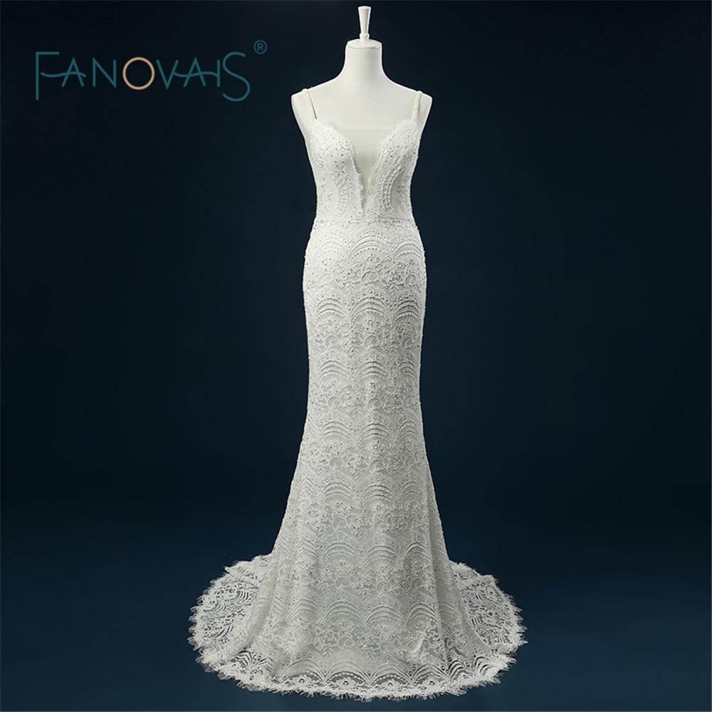 2019 Exquisito Vestido de Novia Foto Real vestidos de noiva sereia Sirena Sin Tirantes Bonito Encaje Sin Respaldo Vestido de Novia de Novia ASAW38