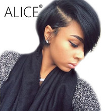 ALICE Glueless Lace Front Human Hair Wigs Pre Plucked 130% Density Remy Hair Short Wigs Side Part Human Hair Bob Wigs 13x4(China)