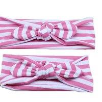 Melhores Produtos para Crianças Elastic Headband Decoração Orelhas de Coelho Tarja Europeia Bonito Bowknot Stripe Chiffon Elastic Headwear