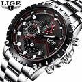 LIGE повседневные модные часы  Имитационные водонепроницаемые часы  мужские часы  лучший бренд  роскошные светящиеся часы с хронографом для м...