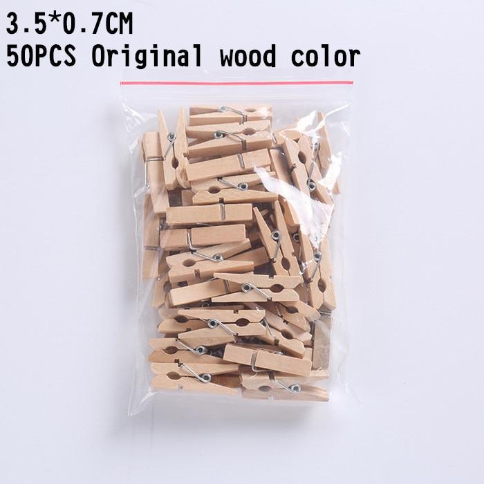 50 шт. цветные деревянные Мини-зажимы DIY вечерние украшения для дома ремесло искусство клип милые маленькие зажимы для заметок Бумага Закладка фото зажимы - Цвет: Original wood 3.5cm