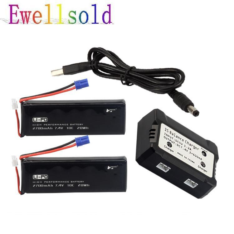 Ewellsold 2 in 1 lipo battery 7.4V 2700mAh 10C Batteies*2 +Balance charger*1 for H501C rc Quadcopter Airplane drone Spare Parts lipo battery 7 4v 2700mah 10c 5pcs batteies with cable for charger hubsan h501s h501c x4 rc quadcopter airplane drone spare