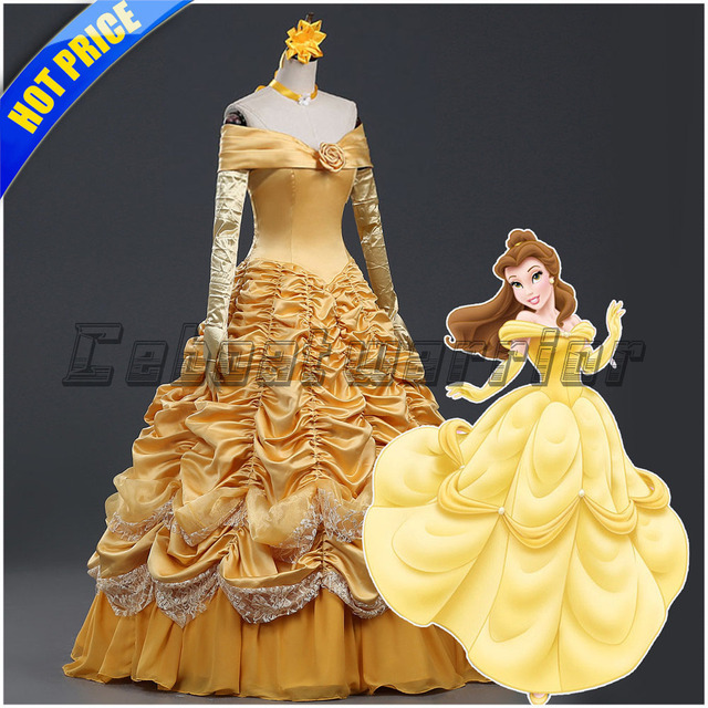 Super Princesse Belle adultes cosplay Belle costume robe jaune Film la &FE_31