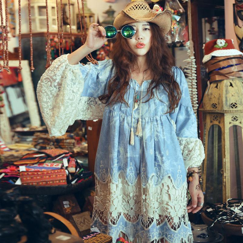 MX046 Spring and Summer 2016 women loose long sleeve lace tassel patchwork washed denim dress boho