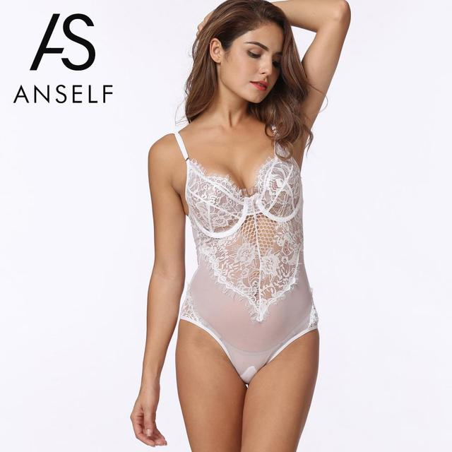 0c5f51a23ca0 Anself Sexy Lace Bodysuit Top Women Bodycon Jumpsuit Sheer Lace Mesh Bra  Thongs Erotic Sleepwear Rompers