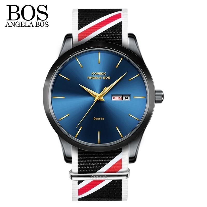ANGELA BOS Thin Nylon reloj de pulsera para hombre reloj de moda para - Relojes para hombres - foto 4
